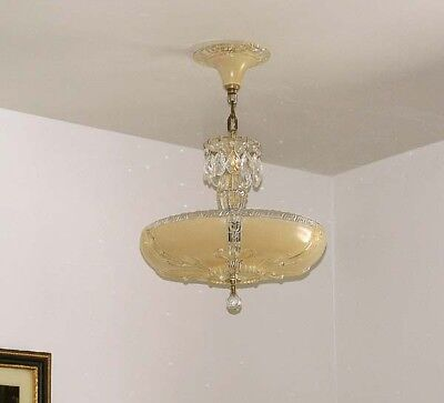 358 40's Vintage Antique Ceiling Light Lamp Fixture Glass Chandelier Re-Wired 8