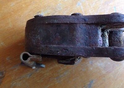 Vtg Antique Iron Padlock w/ Key Arabic Muslim Ottoman Brass Jail Bank Lock Works