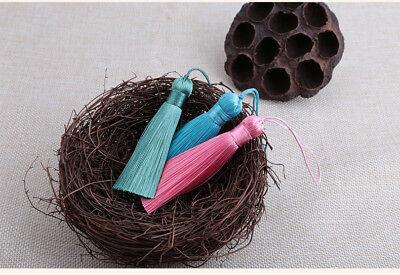 Hot 8cm 26 Colors Ice Silk Fat Tassel Trim Jewelry Making DIY Key Chian Pendant 5