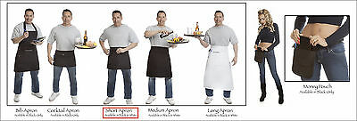 Quality Black Med Bistro Apron w//Organizing Extra Pockets Proudly Made in USA
