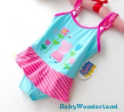New Girls Light Blue One Piece Swimwear Swimsuit Surf Clothing Size 5-8Years