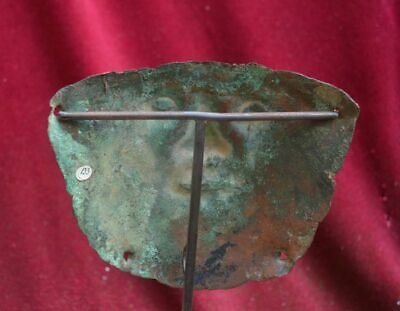 Very rare and nice copper Mummy bundel Mask with human face, Vicus culture Peru 4