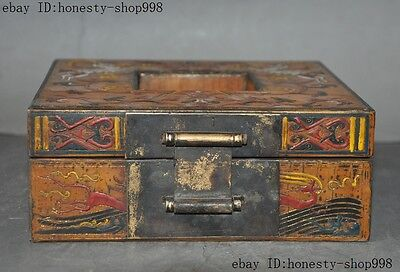 Old China Bronze Lacquerware Carved Auspicious Sika deer Jewelry Case Box Boxes 8