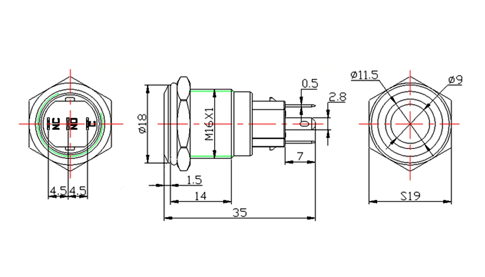 PULSANTE MOMENTANEO LED BIANCO ON OFF DA 6 A 24V 12V 16MM WATERPROOF IP67 P05M