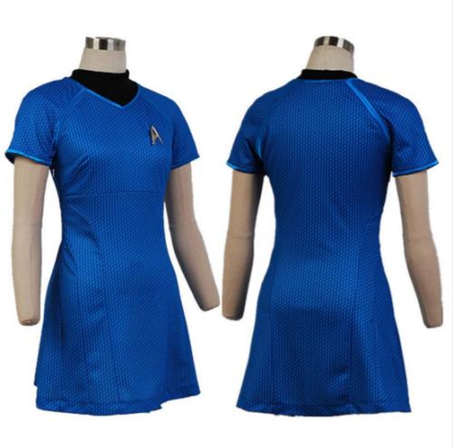 Star Trek Into Darkness Fleet Uhura  Blue Dress COsplay Uniform Costume