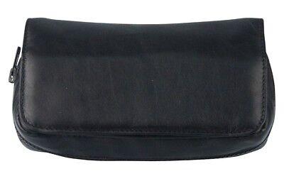 beige Steppung für 1 Pfeife NEU Tabakbeutel Echt Leder schwarz mit Metallemblem