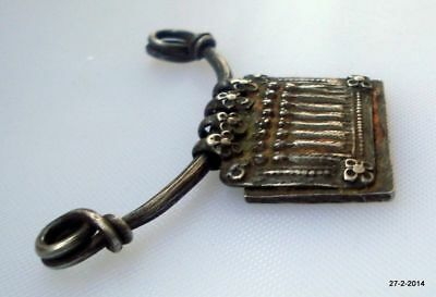 ancient antique tribal old silver necklace amulet pendant hindu god goddess