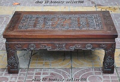 """24"""" Old Chinese Huanghuali Wood Hand Carved""""福""""Text Bat Ancient tables Book Desk 8"""