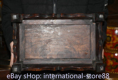 """14.4"""" Old Chinese Dynasty Huanghuali Wood Inlay Shell Fish Table Desk furniture 7"""