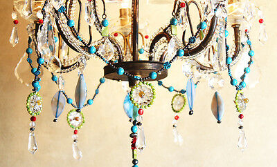 Antique Italian One of a Kind- Amazing Beaded Boho Chandelier Chic Bohemian 3