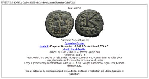 JUSTIN II & SOPHIA Cyzicus Half Follis Medieval Ancient Byzantine Coin  i70658 3