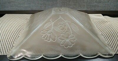 Vintage Clear Pressed Frosted Glass Ceiling Light Shade, Floral, Nice! 4 Pannel 4