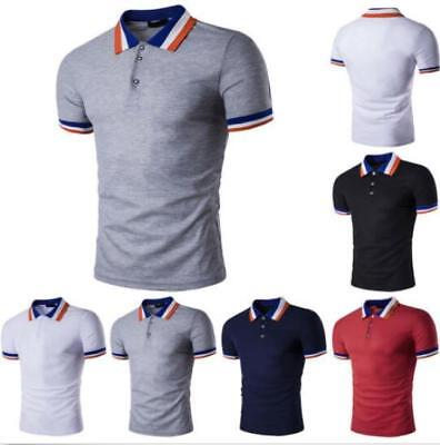 New Men's Slim Fit POLO Shirts Solid Short Sleeve Casual Golf T-shirt Tee Tops 3