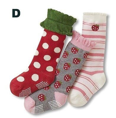 Girls 3p Stripes Polka Dots Pink Purple Socks Age 1 2 3 4 5 6 7 Normal/Anti-slip 3