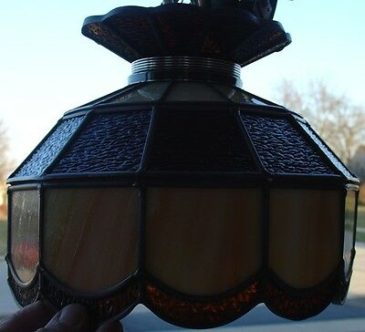 Vintage Stained Leaded Slag Glass PARLOR Lamp Amber & Opal Color Tiffany Style 5