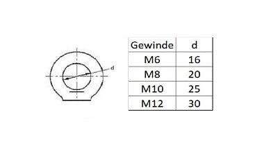 Ringmutter Ringmuttern Ösenmutter M8 Augmutter Transportöse Kranösen 2 Stück