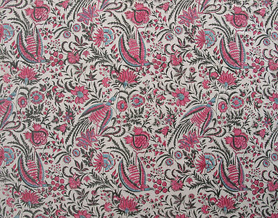 """Hand Block Printed, Cotton Fabric. 2.5 Yards, 42"""" Wide. Birds of Paradise Rose 2"""