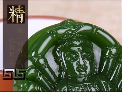 China 100% natural Nephrite hetian jade Thousands Hands Guanyin green pendant 5