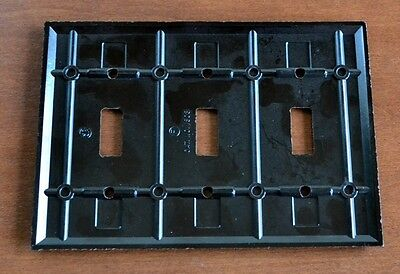 "VINTAGE Bakelite Brown RIBBED ""SMOOTHIE"" 3 Gang Toggle Switch Plate MID-CENTURY 5"