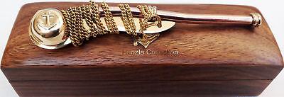 Maritime Brass/Copper Nautical Boatswain Whistle~Bosun Call Pipe with Wood Box 4