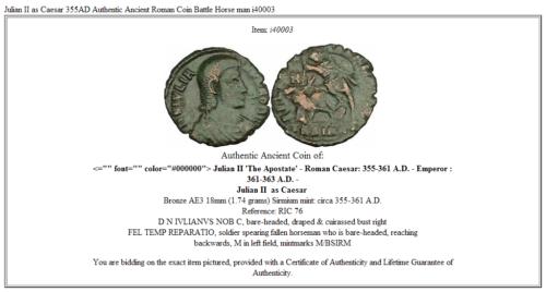 Julian II as Caesar 355AD Authentic Ancient Roman Coin Battle Horse man i40003