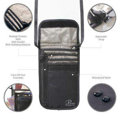 RFID Blocking Neck Stash Passport Card Wallet Holder Pouch Security Travel Bag 2