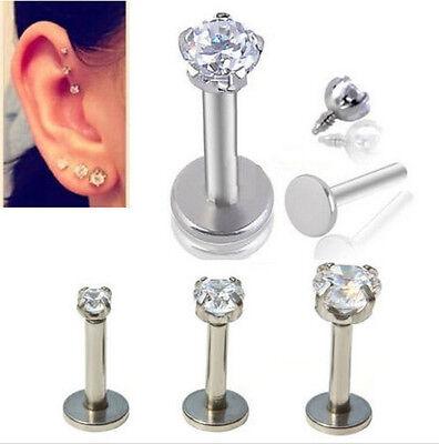 1PC Rhinestone Lip Nose Helix Studs Ring Bone Bar Pin Body Piercing Jewelry Gift 2
