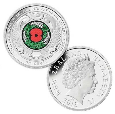 2018 ARMISTICE RED POPPY $2 COIN and  NZ ARMISTIC 50CENTS  UNC. Rare. two coins. 3
