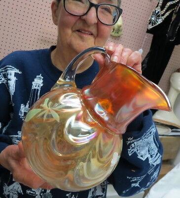 RARE FENTON water pitcher / marigold W/ draped ball bottom / hand painted LOTUS 5