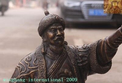 """Old Chinese Bronze copper Mongolia King Genghis Khan Jenghis Khan """"成吉思汗""""Statue 7"""