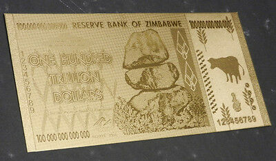 Zimbabwe 100 Trillion Gold Foil Banknote Plated Pure 24K Gold 3