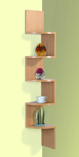 2/3/ 5 Tier Floating Wall Shelves Corner Shelf Storage Display Bookcase 7