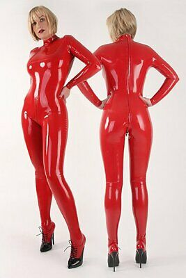 Rot Latex Gummi mit rückseitigem Reißverschluss Bodysuit Overall Catsuit 0.4mm 3