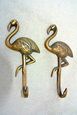 """3 FLAMINGO hooks 5.1/2 """" long aged solid real heavy BRASS old vintage style 6"""