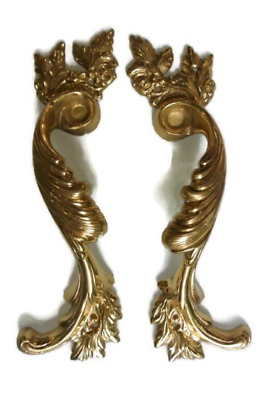 2 large polished french style pulls handles solid pure brass vintage door 28cm B 4