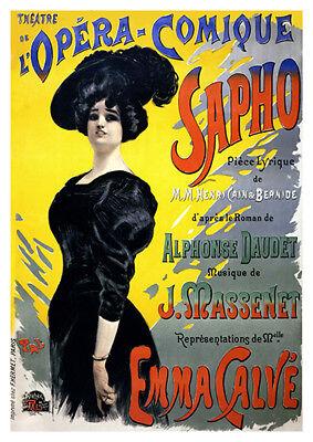 AV66 Vintage French Sapho Theatre de l/'Opera Advertisement Poster Re-Print A4