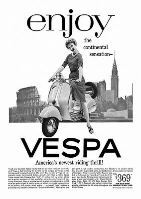 old magazine advert poster reproduction. Vespa Scooter