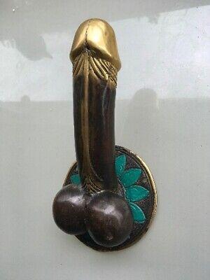 "PENIS shape DOOR PULL HOOK hand made solid 100% brass 9 "" handle heavy   B 4"