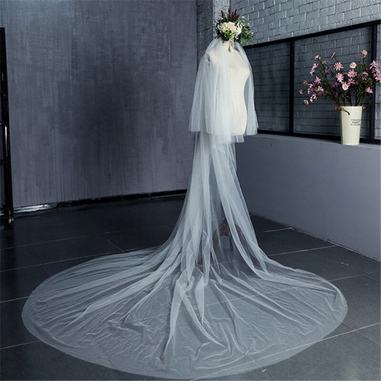 Bridal veil 2 tier white or ivory cathedral length 2