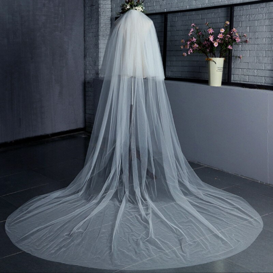 Bridal veil 2 tier white or ivory cathedral length 3