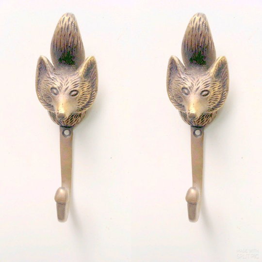 "2 FOX Head 4.1/4"" Solid Brass hook Antique Strong Wall Mount Coat Hat Hook 3"