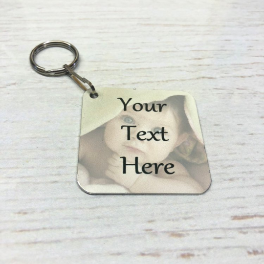 Personalised Square Photo Key Ring, Gift, Double Sided Any Image Promo Logo Text 2