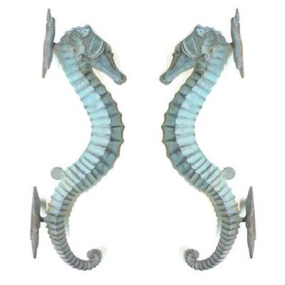 2 Large brass 35 cm SEAHORSE solid hollow heavy antique oxidised sea side B 3
