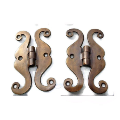 """4 small snake hinge old aged style heavy solid Brass kitchens antiques doors 4"""" 7"""