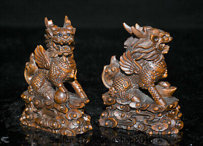 "4"" Old Chinese Boxwood Wood Carving Dragon Qilin Beast Wealth Lucky Statue Pair 5"
