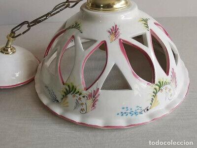 Lampara Vitage , De Ceràmica Con Bonitos Dibujos Florales Hechos A Mano Y 30 Cm 4