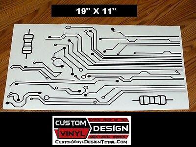 "19"" custom circuit board & resistor vinyl decal stickers wall truck"
