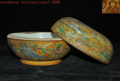 "6""Rare China yellow glaze Wucai porcelain peach Crane bird Storage Pot Box Boxes 9"