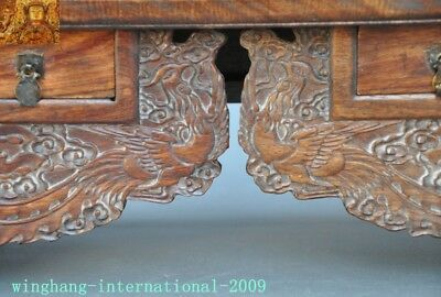 Chinese Huanghuali Old wood carved Phoenix Bird drawer coffee table Desk statue 4