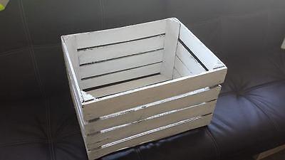 White Painted European Vintage Wooden Apple Fruit Crate Bushel Box Shabby Chic 4